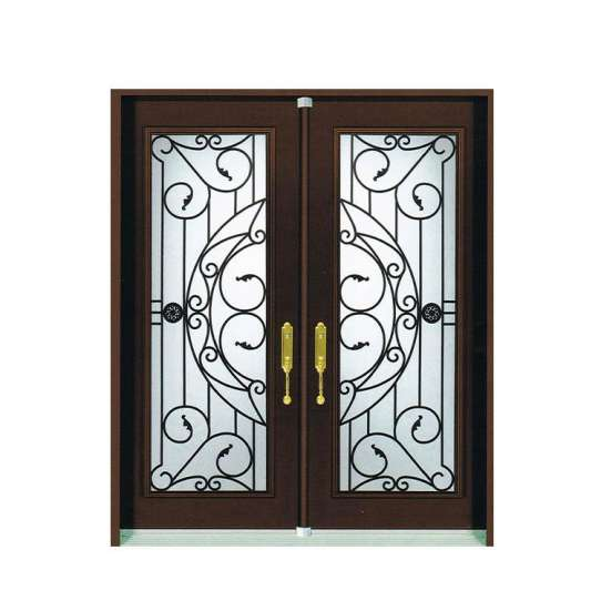 China WDMA New Simple Safety Iron Pipe Grill Glass Front Window Door Design