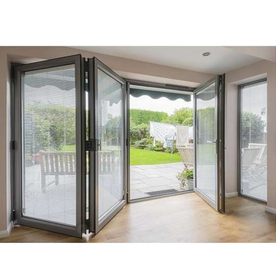 WDMA Nfrc Canada Standard Commercial Powder Coating Aluminum Glass Bi Fold Door With Insert Blinds And Grids