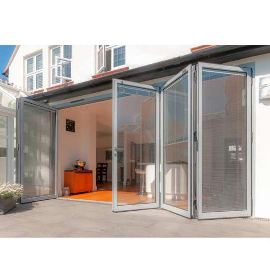 China WDMA Nfrc Canada Standard Commercial Powder Coating Aluminum Glass Bi Fold Door With Insert Blinds And Grids