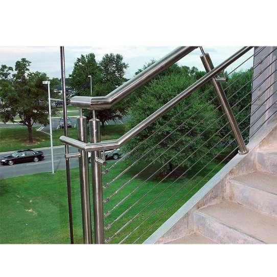 WDMA Outdoor Modern Balcony Guard House Veranda Grill Metal Hand Stair Wire Railing Baluster Design