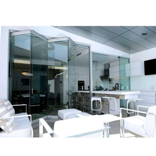 China WDMA Pella Motorized Electric Aluminium Frameless Crystal Transparent Glass Folding Door Partition Mechanism For Banquet Hall