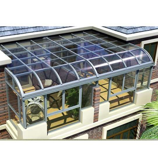 WDMA Prefabricated 4 Season Free Standing Veranda Aluminium Insulated Curved Glass Conservatory Sunroom Glass House For Solarium On