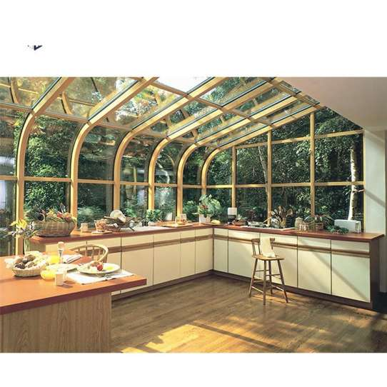 China WDMA Prefabricated 4 Season Free Standing Veranda Aluminium Insulated Curved Glass Conservatory Sunroom Glass House For Solarium On