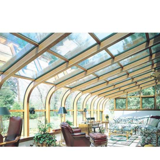 China WDMA Prefabricated Aluminum Frame Curved Glass Sunrooms