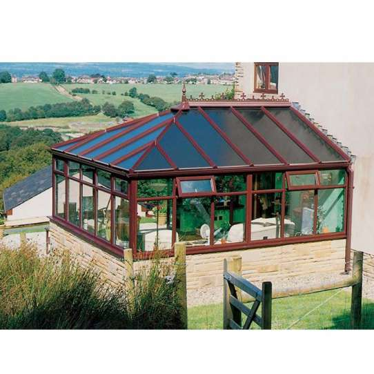 WDMA Prefabricated Four Seasons Aluminium Tempered Glass House Sunroom Victorian Conservatory Greenhouse Garden Room With Blinds