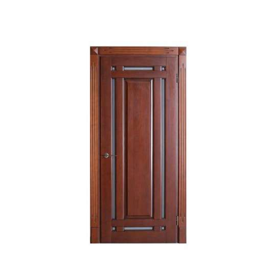 China WDMA Solid Wood Flush Doors With Laminate Glass Designs