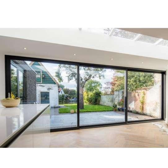 China WDMA Sound Proof Inline Slim Frame Soft Closing Aluminium Sliding Shop Patio Door Unbreakable Glass Door Systems