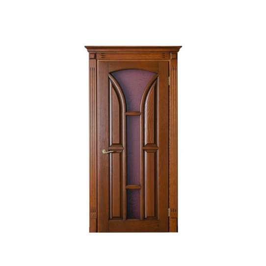 China WDMA Ul Fire Rated Color Interior Security Mdf Wooden Single Door With Glass Window Frame And Groove Design Applicable To Hotel Room