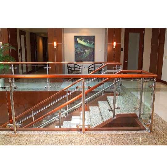 WDMA Veranda Balcony Aluminium U Channel Glass Stair Railing Stainless Steel
