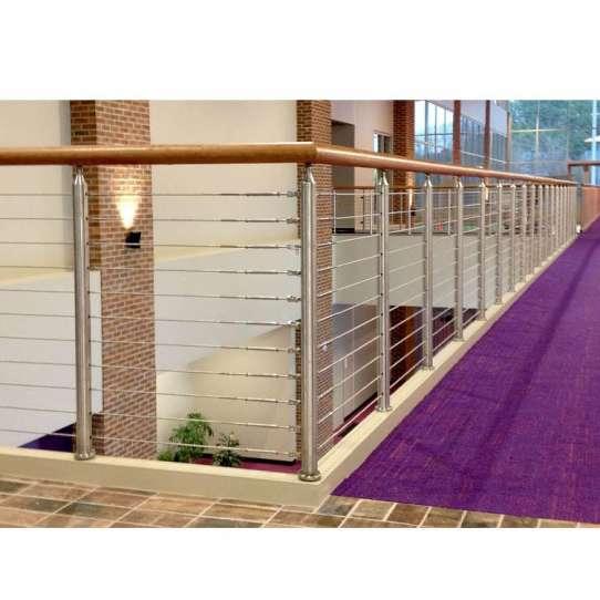 China WDMA Veranda Balcony Aluminium U Channel Glass Stair Railing Stainless Steel