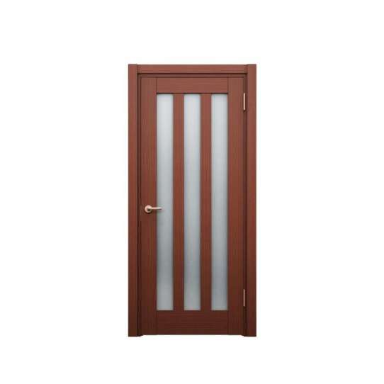 China WDMA Waterproof Mdf Designed Wooden Entrance House Door With Opening Window In Exterior