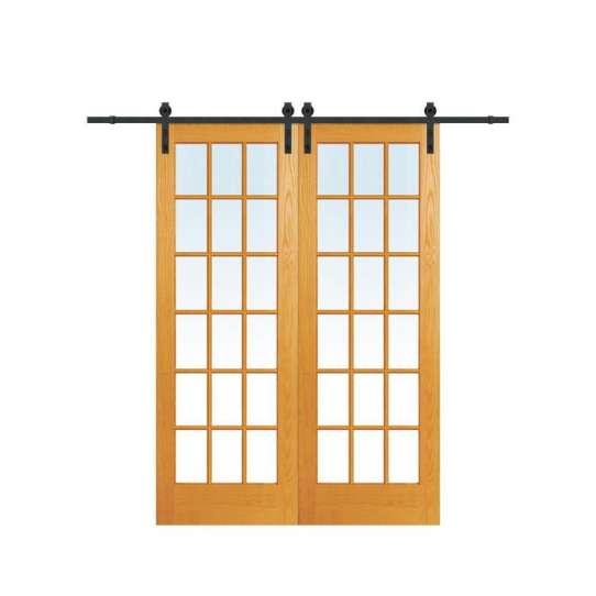 WDMA Wood Frame Double Sided Mirror Barn Doors