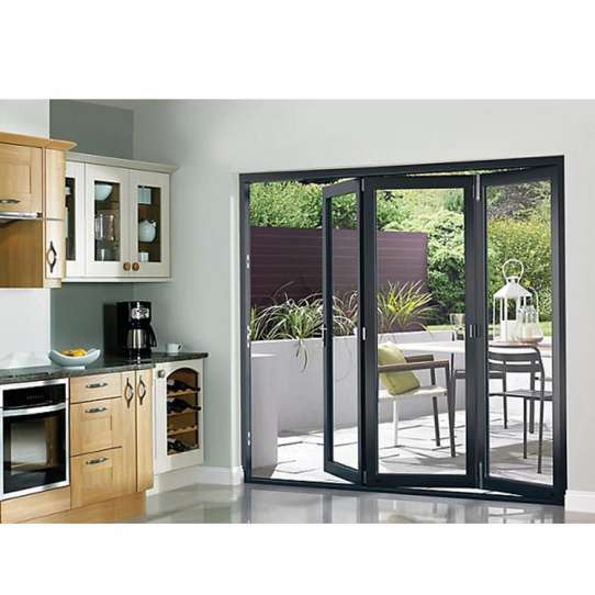 China WDMA Wooden Grain Color Frame Large Bifold Door